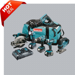MAKITA DLX6068PT 18V LXT 6-DELIGE KIT INC 3X 5.0AH BATTS EN TWIN LADER